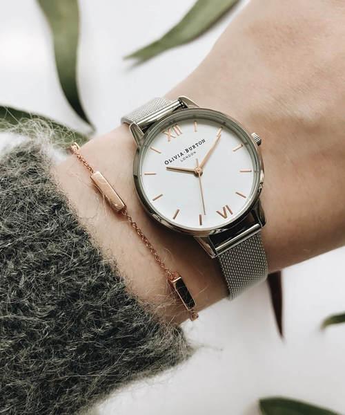 BEYOND COOL オリビアバートンホワイト ミディダイヤル メッシュ 腕時計