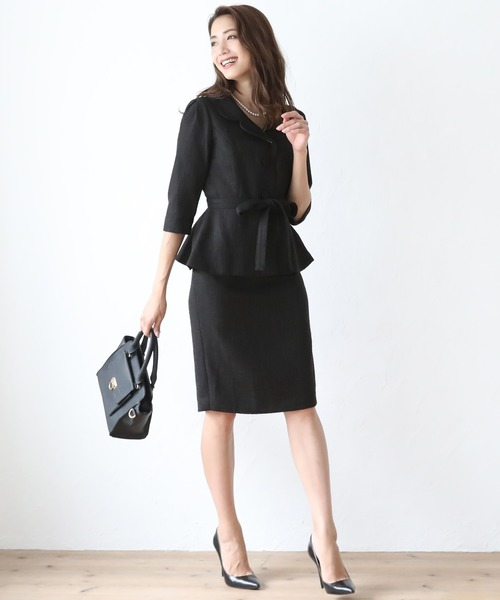 [C.R.E.A.M] ツイード ジャケット スカート セットアップ フォーマル スーツ ベルト付き【3点セット】結婚式