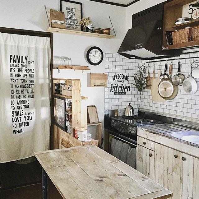 ワンルームキッチンに作業台