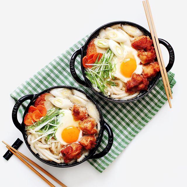 美味しいレシピ!唐揚げ鍋焼きうどん