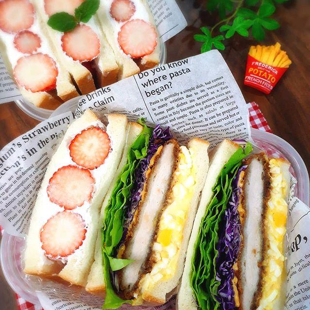 色鮮やかな詰め方に!サンドイッチ弁当
