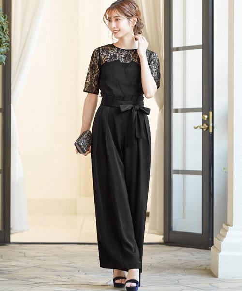 [GIRL] レースブラウス&ベアトップジャンプスーツのセットアップ結婚式パンツドレス - 二次会・成人式・同窓会・謝恩会・お呼ばれ対応フォーマルパーティードレス