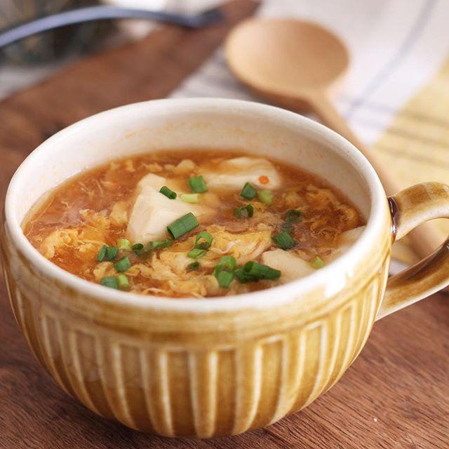 パンチの効いた汁物!麻婆風ピリ辛スープ
