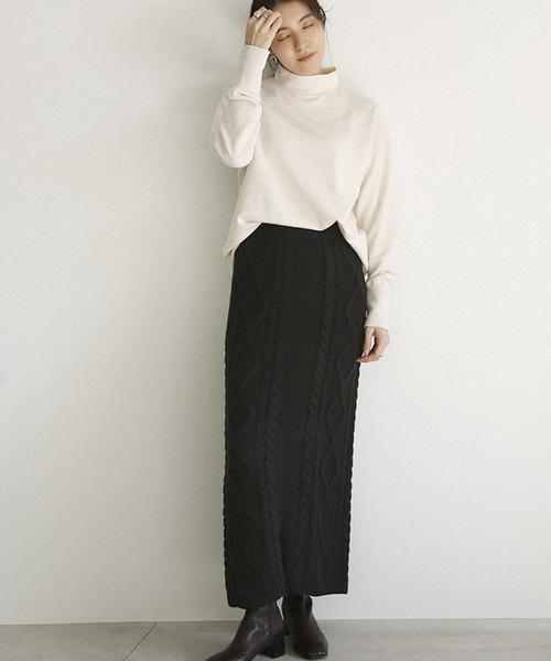 select MOCA] ミックスゲージニットスカート(バックスリット入りケーブルニットスカート