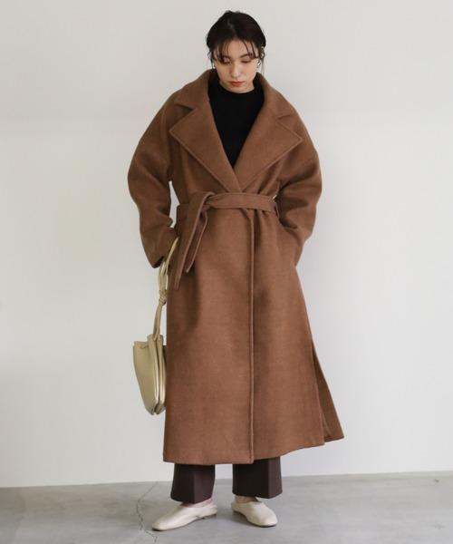 オーバーサイズスリットコート/ベルト付きチェスターロング丈コート
