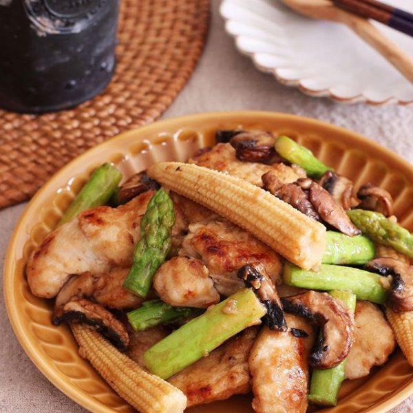 鶏むね肉とアスパラのマヨポン炒め