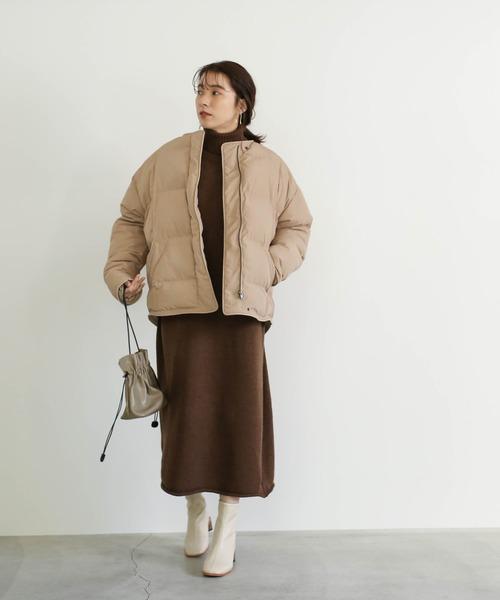 ノーカラーフェイクダウンジャケット(立体デザイン軽くて暖か中綿ショートダウン)