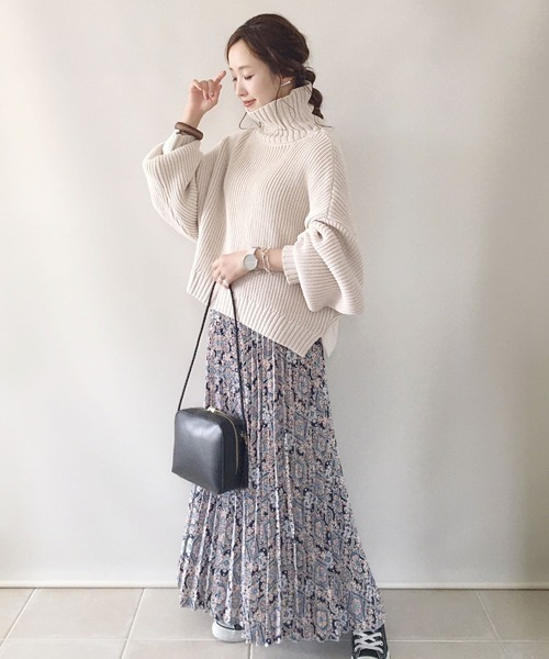 [CORNERS] 【WEARISTA 陽さん×CORNERSコラボ】ジョーゼットプリーツロングスカート