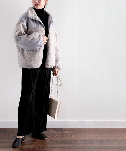 [Classical Elf] スタンドカラー ミドル丈ツートーン配色ボリューム袖ボアジャケット