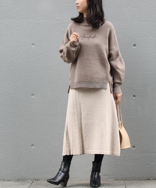 LAVEANGE] [洗える]プリーツ編み切り替えニットスカート