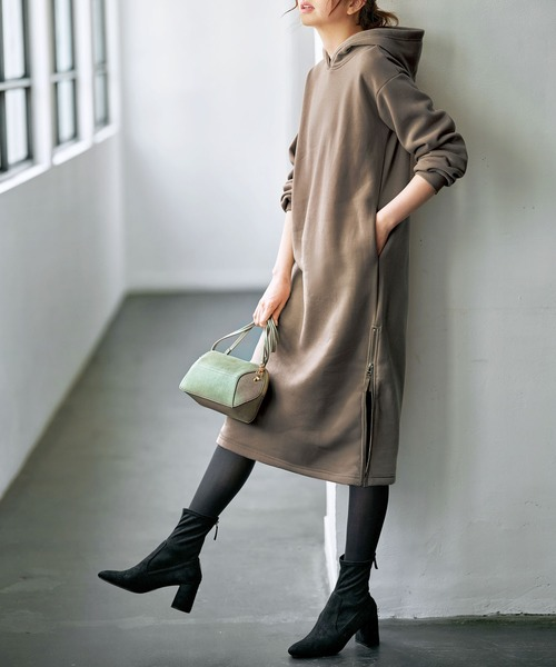 [GeeRA] 【新色追加】裏起毛裾ファスナーパーカーワンピース