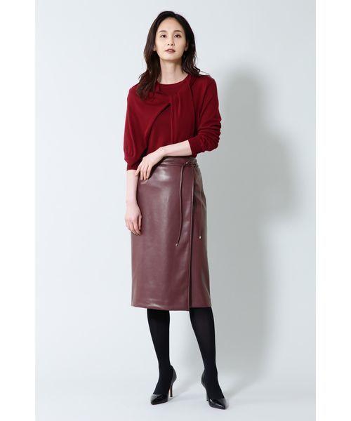 BOSCH B abilityフェイクレザーラップ調スカート