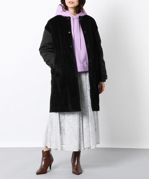 [Rose Tiara] フェイクファー切替中わたコート