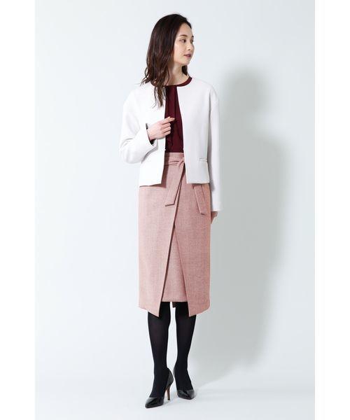 BOSCH B abilityヘリンボーンスリットラップスカート