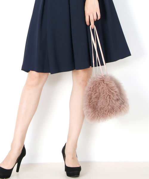 [三京商会] カシミヤファー巾着バッグ