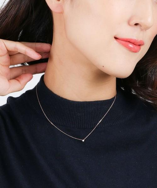 [ete] K10 レイヤー ダイヤモンド ネックレス
