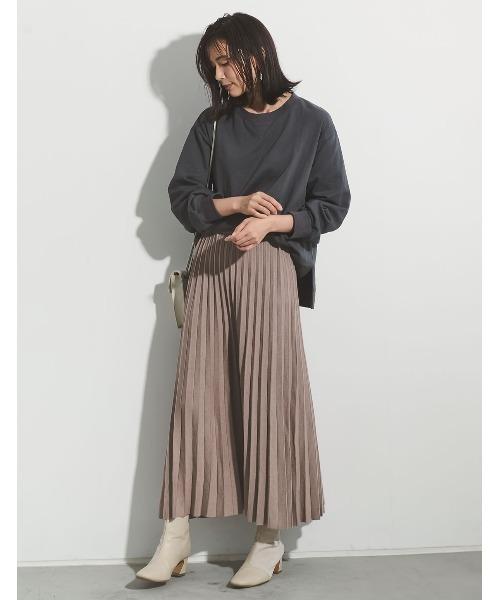 [Re:EDIT] [低身長向けSサイズ有]ソフトニットプリーツ風ロングスカート