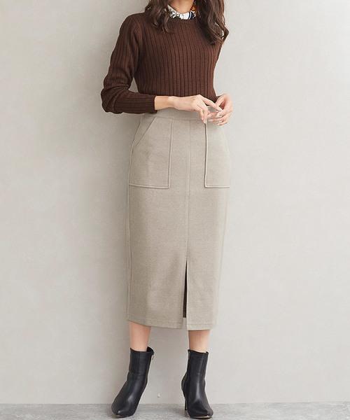 ウールタッチフロントスリットタイトスカート