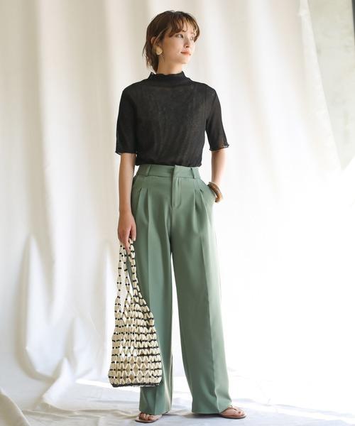 [select MOCA] カラーセンターラインパンツ/美シルエット春カラーパンツ