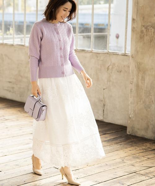 刺繍レースマキシスカート