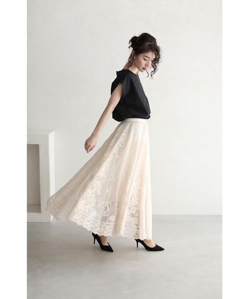 ラクに履けて美しい。ゴージャスレースのミディアムスカート