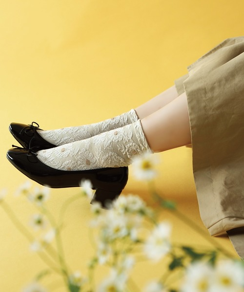 靴下屋/ お花メランジフロートソックス