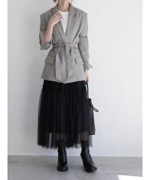 A AMEL チュールティアードスカート