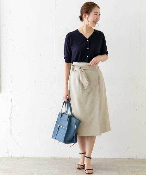 URBAN RESEARCH ROSSO WOMEN リボンラップタイトスカート
