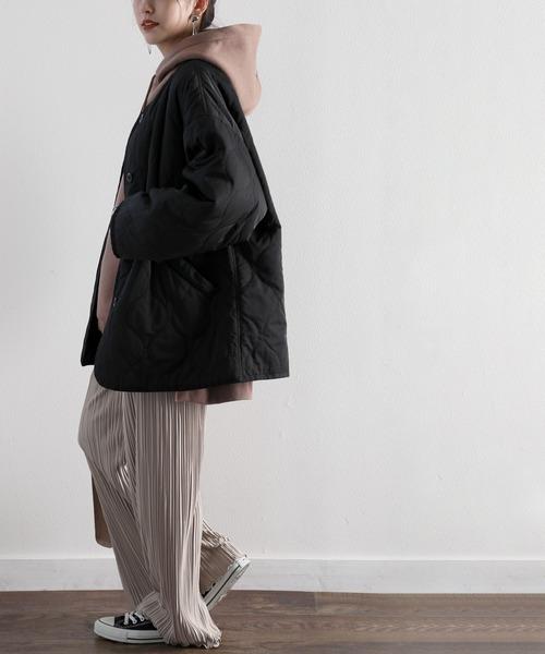 [Classical Elf] ミドル丈ノーカラー無地波型キルティングジャケット