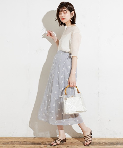 シアーマーガレット刺繍大人スカート