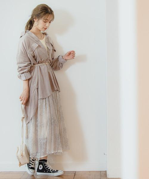 [mysty woman] チュールレース花柄スカート 914307