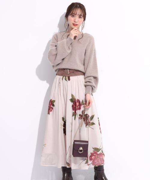 [Apuweiser-riche] ベルト付き大花チュールスカート