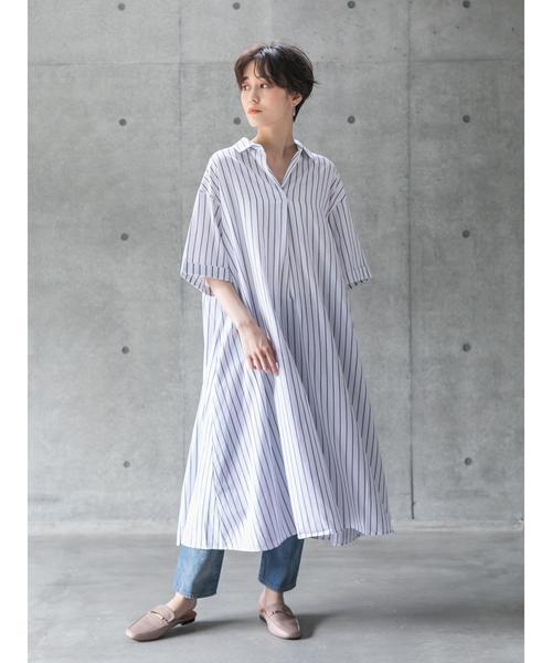 [koe] スキッパー半袖シャツワンピース*