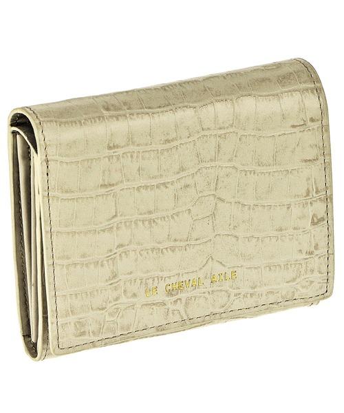 型押しレザー二つ折り財布