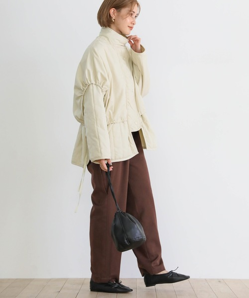 [select MOCA] レイヤードキルティングジャケット/重ね着風オーバーサイズショートダウン