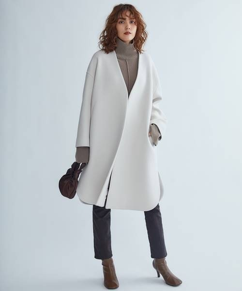 [Mila Owen] シャツカーブノーカラーコート2
