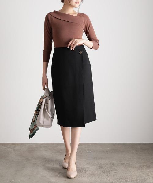 【EASY CARE】アシメラップIラインスカート