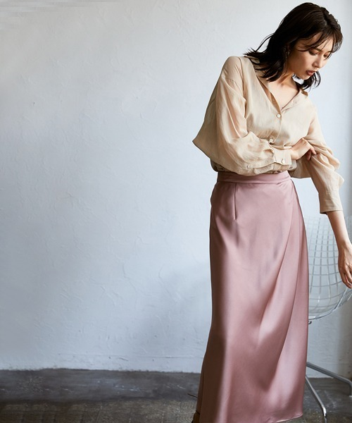 [FRAY I.D] サテンタックナロースカート