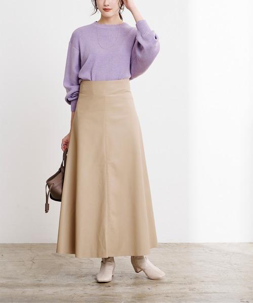 ボリュームニット×フレアレザースカート