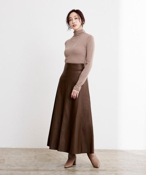 [ur's] フェイクレザーフレアスカート