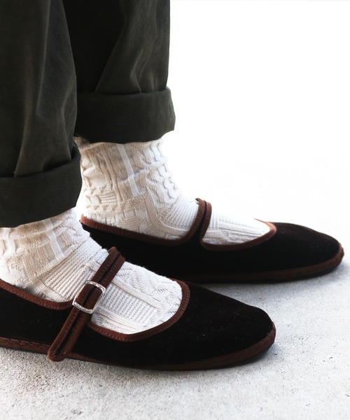 靴下屋/ パッチワークアランソックス