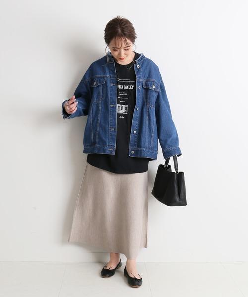 レディースジャケット×フレアニットスカート