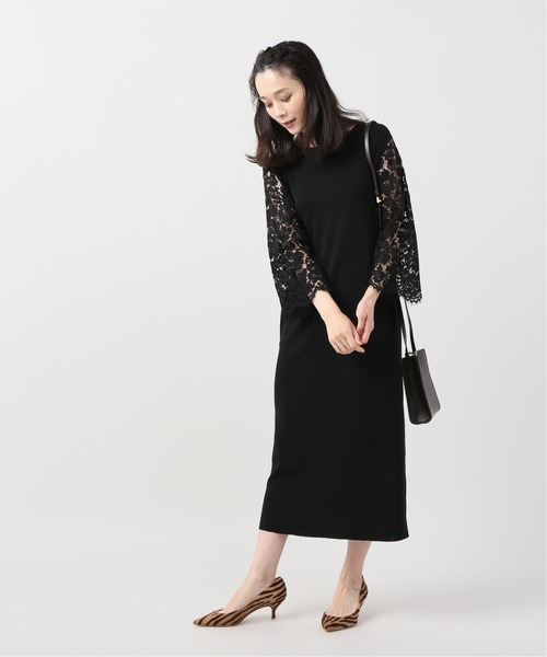 [IENA] 【Room no.8/ルームエイト】BLACK CHANSON LACE SLEEVE DRES:ワンピース◆