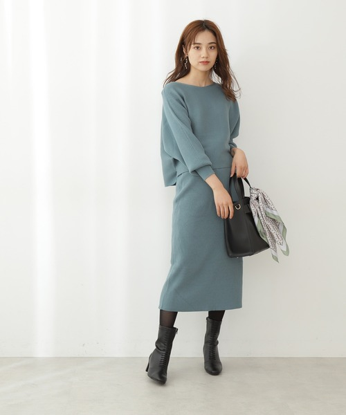 [PROPORTION BODY DRESSING] ドルマンニット×バックスリットタイトスカートセットアップ