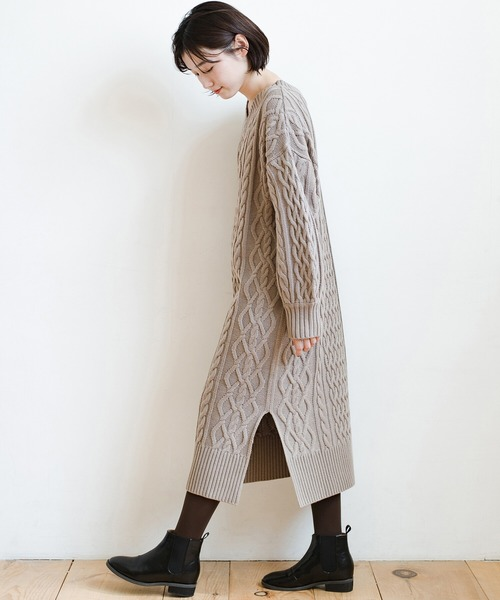[haco!] パッと着て絶妙に女っぽい 重ね着にも便利なケーブルニットワンピース
