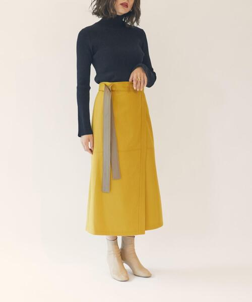 【EMMEL REFINES】EM カルゼ ラップ 台形スカート