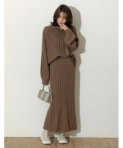 [Re:EDIT] [低身長向けSサイズ対応]バルキーワイドリブニットスカート