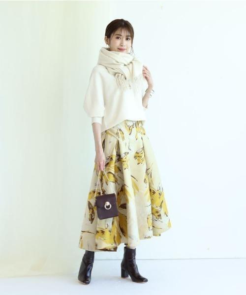 [Apuweiser-riche] 大花ジャガードタックフレアスカート