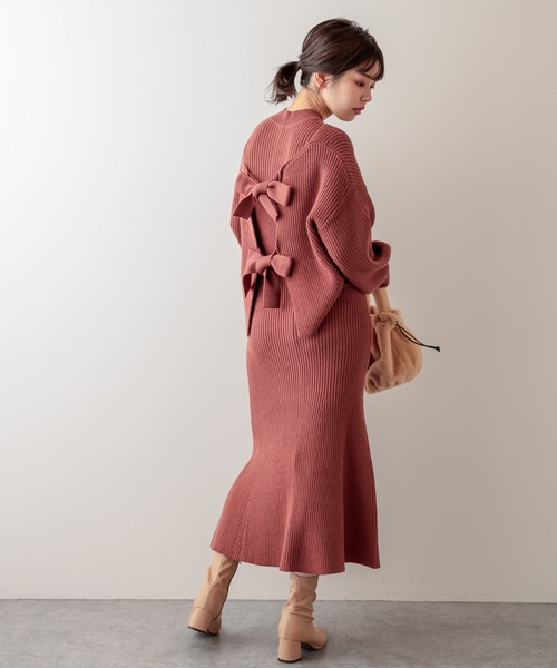 [natural couture] 【WEB限定】セットアップガーリーニットワンピース