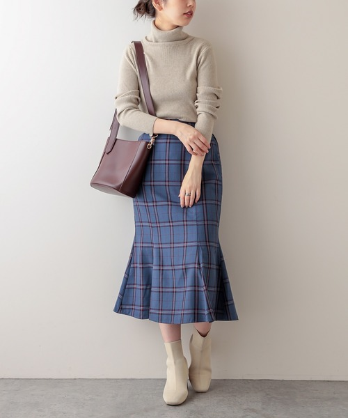 [natural couture] マーメイドチェックスカート